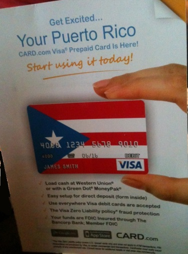 Even the card cover it came in was cool! Look! My Puerto RIco prepaid Visa card is here!